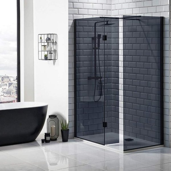Mono Black Wet Room Glass 1000mm Black With 275 Flipper/Return Panel