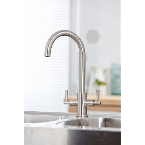 Kingston Kitchen Tap Twin Lever - Brushed
