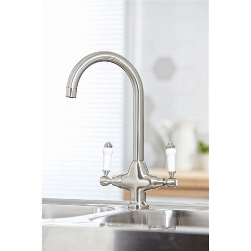 Harrogate Kitchen Tap Twin Lever - Brushed