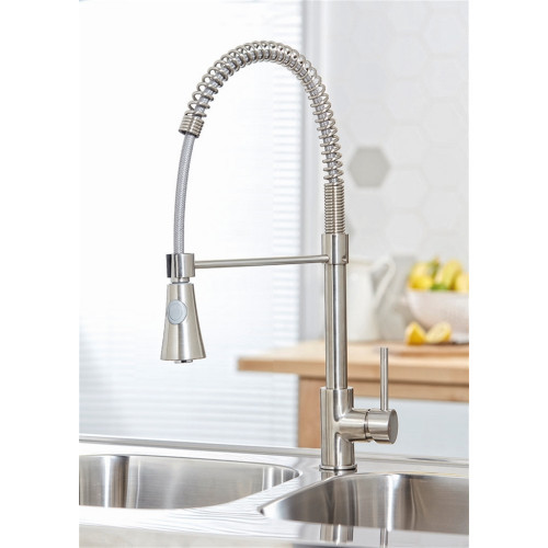Tirare Pull Out Kitchen Tap - Brushed