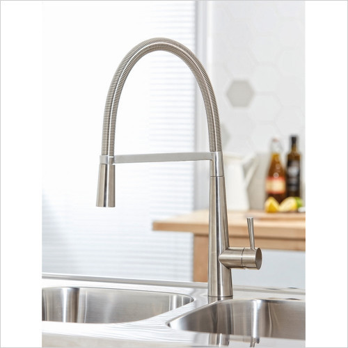 Flusso Pull Out Kitchen Tap - Brushed