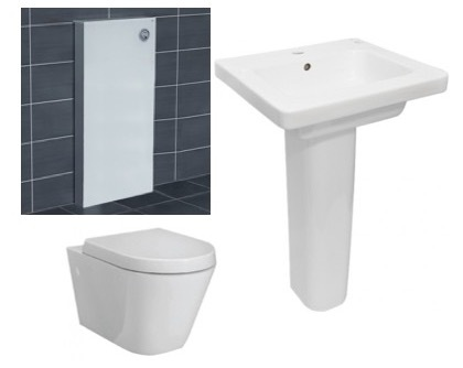 RAK Resort Wall Hung Pan, Soft Close Seat, White Cistern Frame, Basin + Ped Package 1