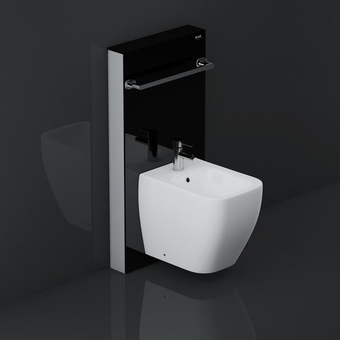 Rak Obelisk Cistern Cabinet For Wall Hung Bidet Black