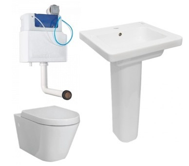 RAK Resort Wall Hung Pan, Soft Close Seat, Concealed Cistern, Basin + Ped Package 1